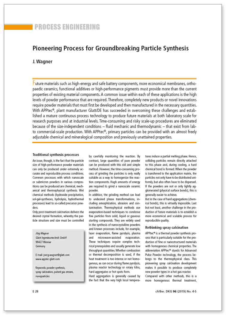 published technical paper: Pioneering Process for Groundbreaking Particle Synthesis
