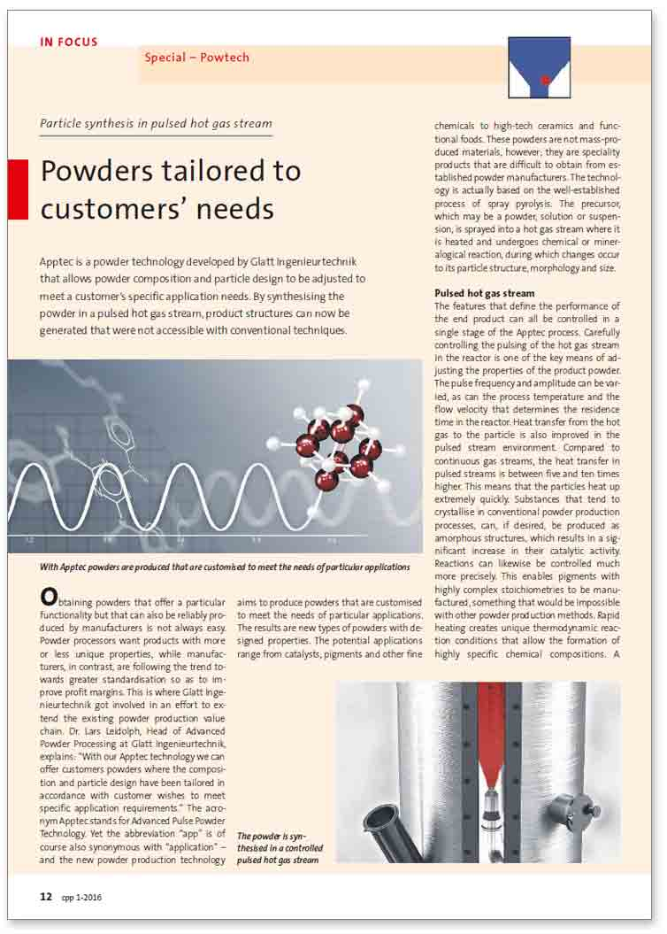 published technical paper: Particle synthesis in pulsed hot gas stream - powders tailoed to customers' needs