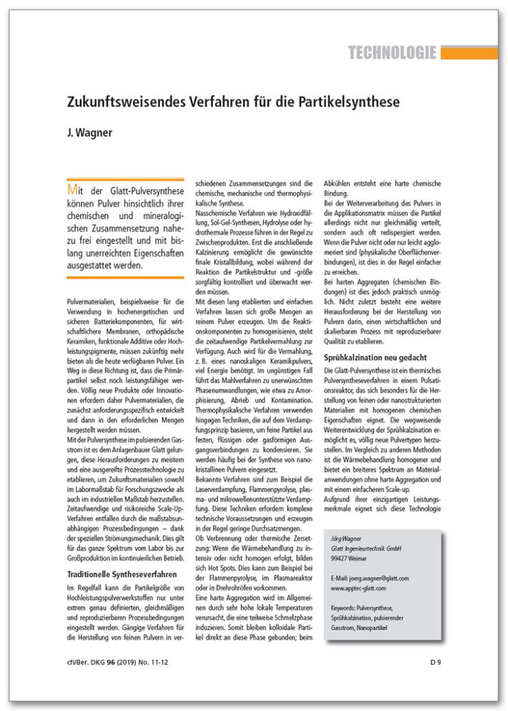 Glatt Pulversynthese - Zukunftsweisendes Verfahren für die Partikelsynthese
