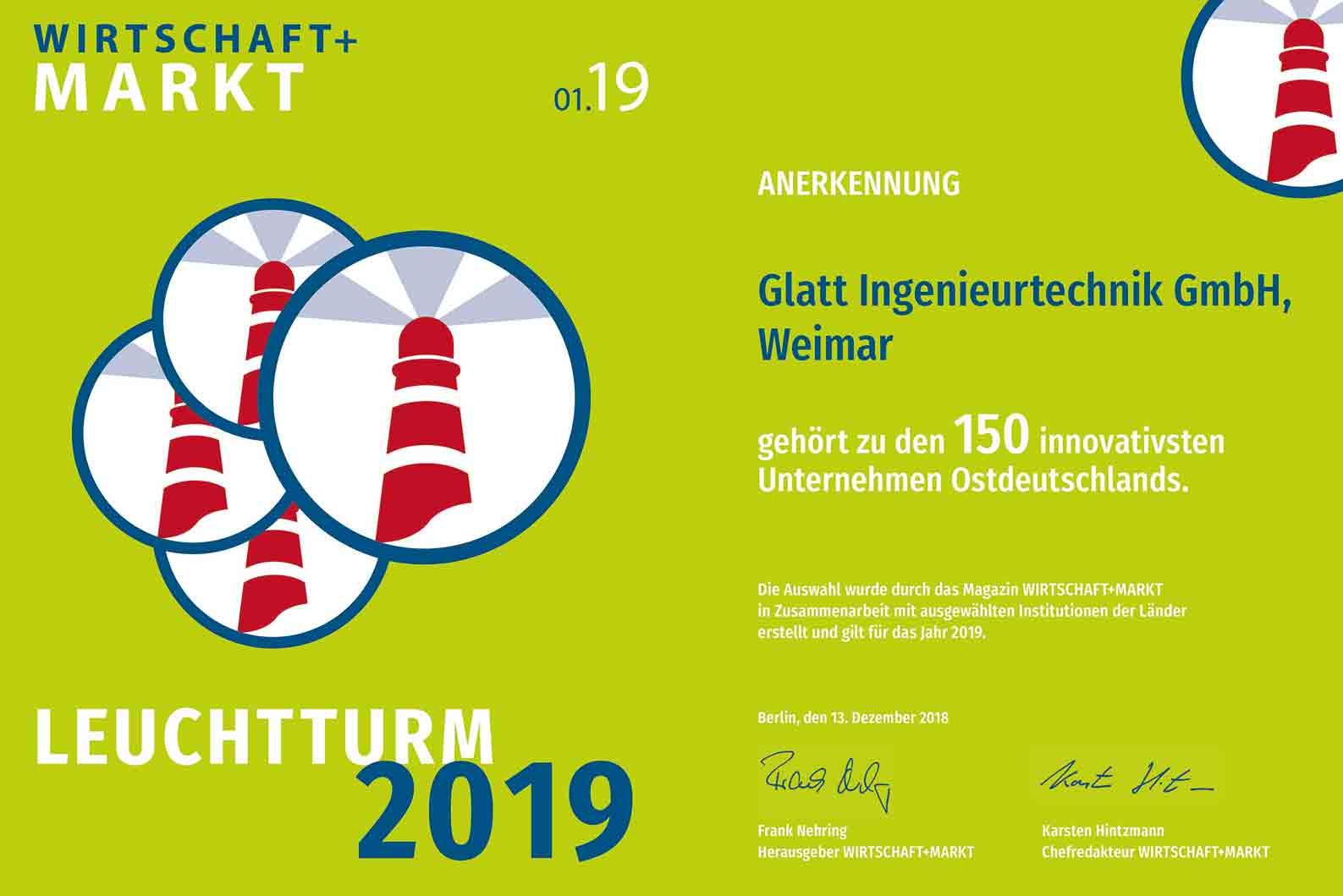 Glatt Ingenieurtechnik GmbH gehört zu den 150 innovativsten Unternehmen Ostdeutschlands