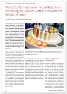 Wie Zukunftsmaterialien mit Wirbelschichttechnologien und der Glatt Pulversynthese Realitaet werden