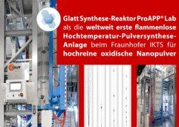 Glatt Synthese-Reaktor ProAPP®Lab als die weltweit erste flammenlose Hochtemperatur-Pulversynthese-Anlage beim Fraunhofer IKTS für hochreine oxidische Nanopulver