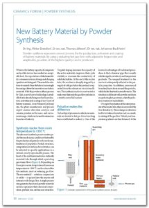 Glatt technical article 'New Battery Material by Powder Synthesis'