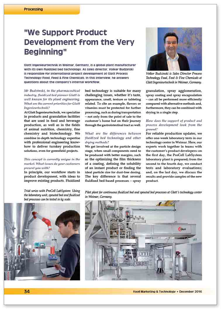 Glatt technical article on 'We support product development from the very beginning', published in ''food Marketing & Technologie', issue 12/2016, Dr. Harnisch Verlagsgesellschaft mbH